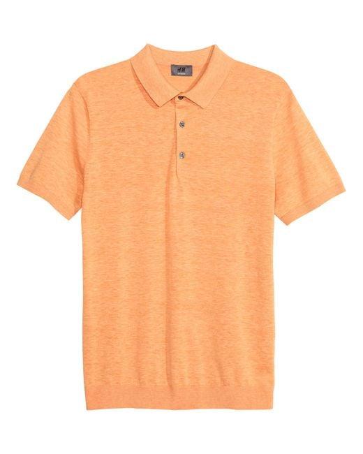 H m silk blend polo shirt in orange for men orange for H m polo shirt mens