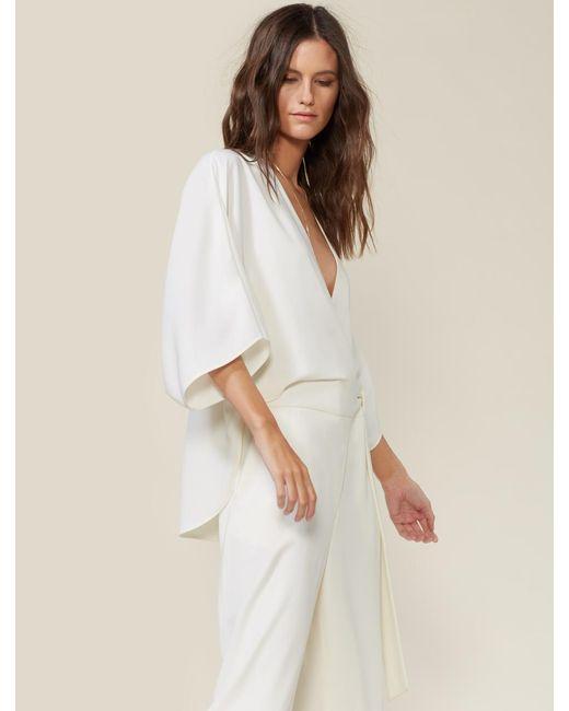 Halston Heritage White Wrap Front Flowy Crepe Jumpsuit