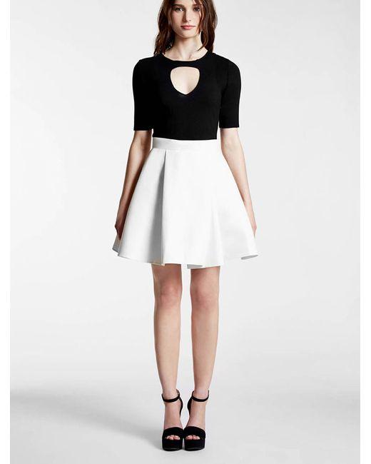 Halston Heritage | White Knit / Silk Faille Combo Dress | Lyst