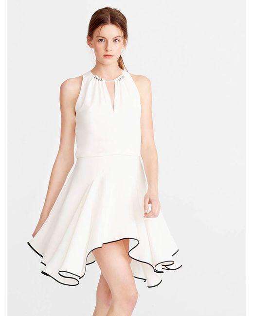 Halston Heritage | White Colorblocked Flounce Crepe Dress | Lyst