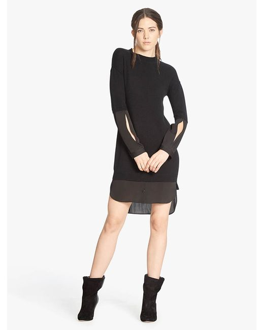 Halston Heritage | Black Cashmere Blend Sweater Dress With Georgette Inserts | Lyst