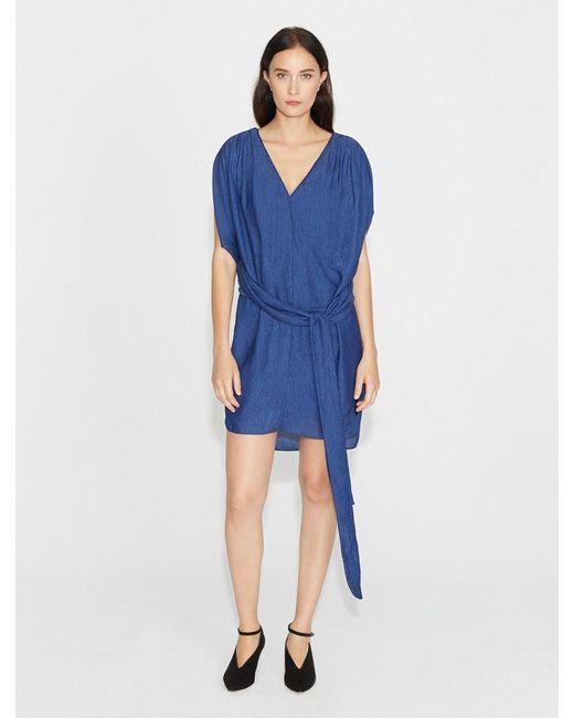 Halston Heritage - Blue Flowy Satin Stripe Dress With Sash - Lyst