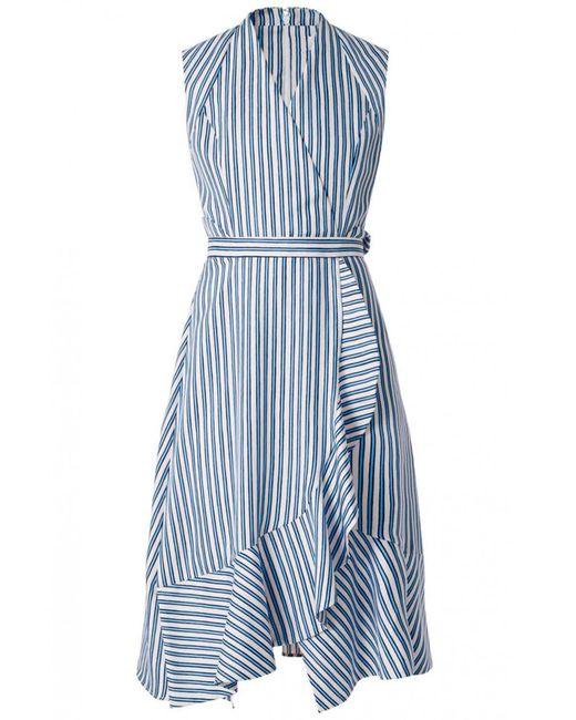 Carven | Blue Ruffled Asymmetric Dress In Blanc/bleu | Lyst
