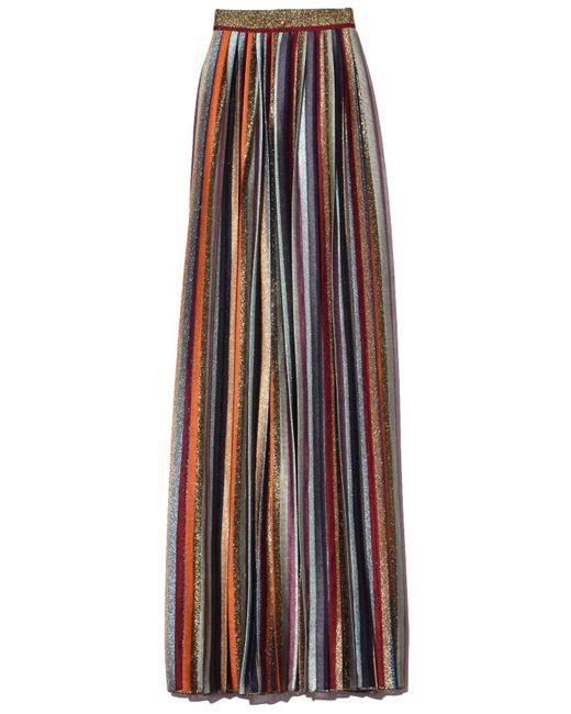Missoni Multicolor Long Skirt In Gold Multi Stripe