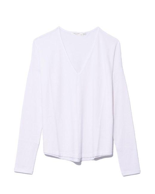 Rag & Bone - Hudson Vee Long Sleeve In White - Lyst