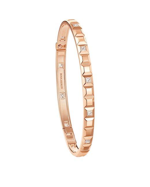 Boucheron Pink Rose Gold And Diamond Quatre Clou De Paris Bangle