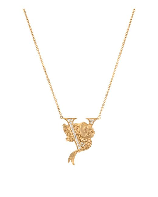 Stephen Webster Metallic Yellow Gold And Diamond Fish Tales V Necklace
