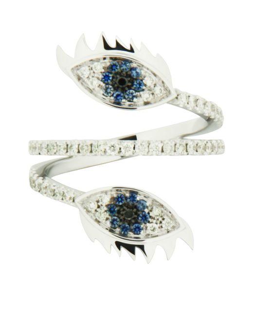 Delfina Delettrez   Marry Me Double Eye White Gold Ring, Blue, 53   Lyst