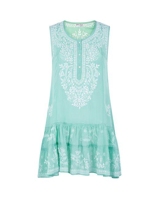 Juliet Dunn - Green Embroidered Silk Camisole Dress - Lyst