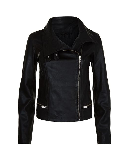 AllSaints Black Bales Funnel Neck Biker Jacket