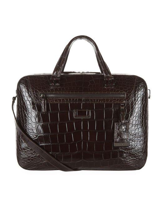 Tumi - Black Marina Alligator Briefcase - Lyst