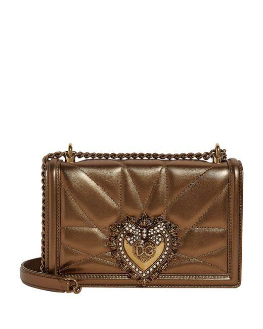 Dolce & Gabbana Brown Medium Leather Devotion Shoulder Bag