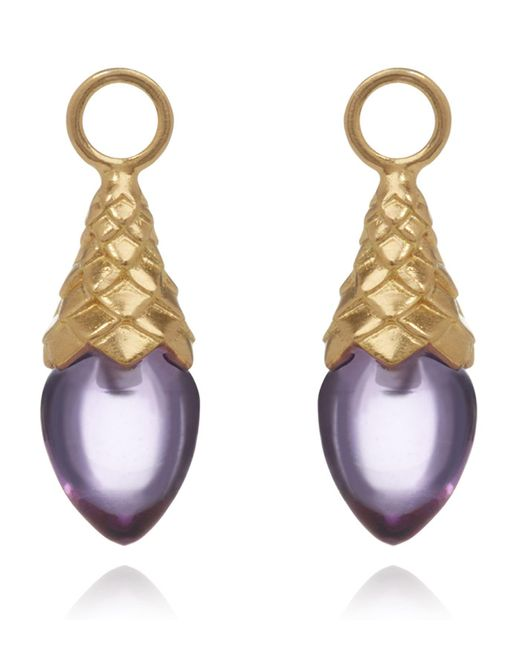 Annoushka - Metallic Yellow Gold And Amethyst Earring Drops - Lyst