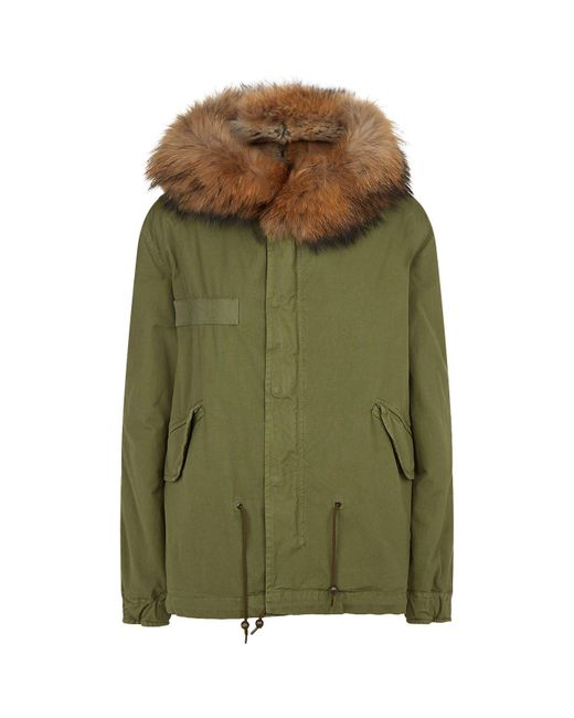 Mr & Mrs Italy - Green Coyote Fur Trim Army Parka for Men - Lyst