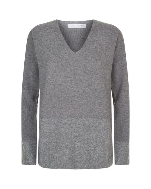 Fabiana Filippi | Gray Lurex Panel V-neck Sweater | Lyst