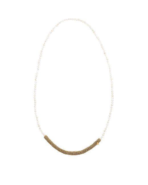 Lucy Folk - Metallic Crochet Pearl Necklace - Lyst