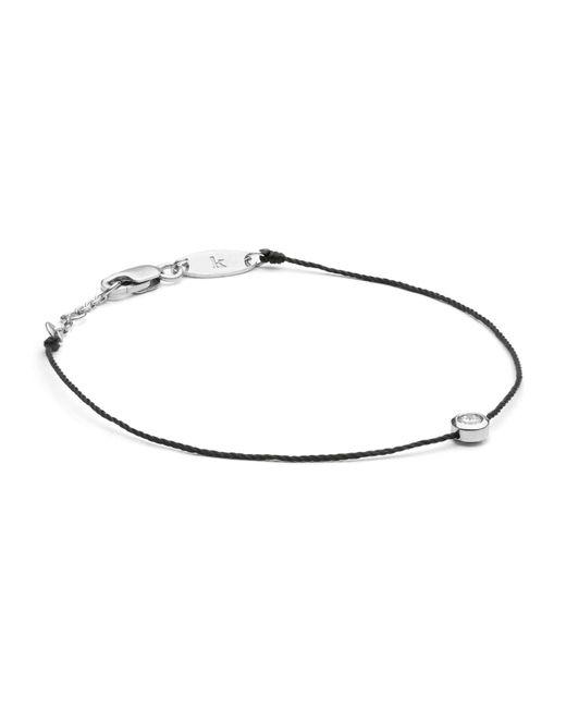 RedLine White Gold And Diamond Pure Bracelet With Black Thread
