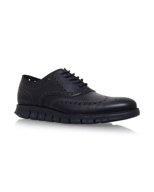 Cole Haan Black Zergrand Wingtip Oxford Shoes for men