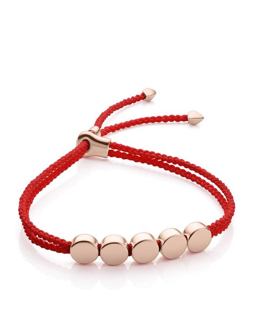 Monica Vinader - Red Linear Bead Friendship Bracelet - Lyst