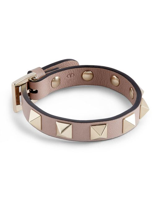 Valentino Brown Leather Rockstud Bracelet