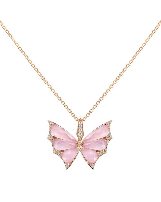 Stephen Webster | Multicolor Rose Gold And Diamond Fly By Night Crystal Haze Pendant | Lyst
