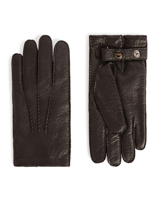 Dents Black Cashmere-lined Leather Gloves for men