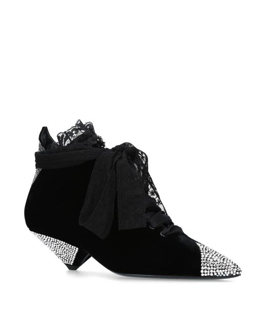 Saint Laurent - Black Crystal Blaze Ankle Boots 45 - Lyst