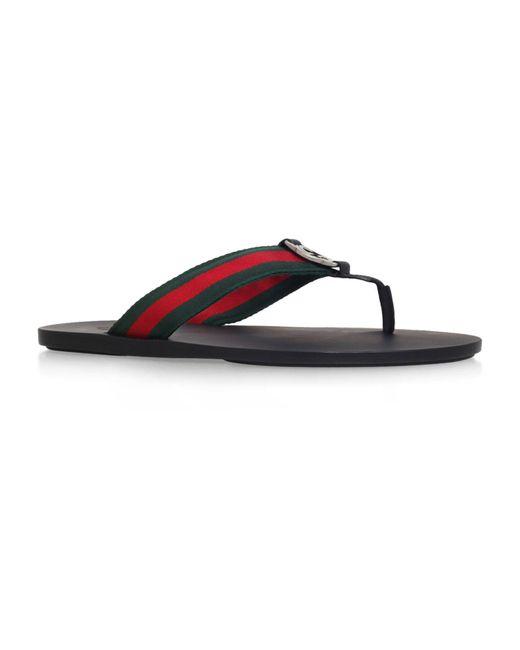 4b5f980c6b2d Gucci GG Web Thong Sandals in Black for Men - Lyst