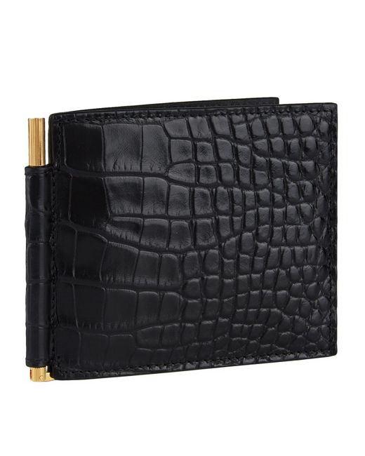 Tom Ford Black Alligator Bifold Wallet for men