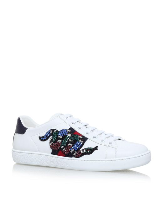 aa2277a17 Gucci Embellished Snake Ace Sneakers in White - Lyst