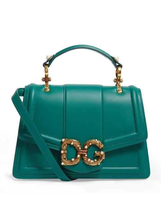 Dolce & Gabbana Green Leather Amore Bag
