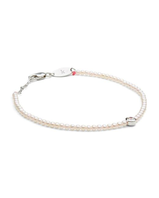 RedLine | White Pearl And Diamond Pure Bracelet With Neon Pink Thread | Lyst