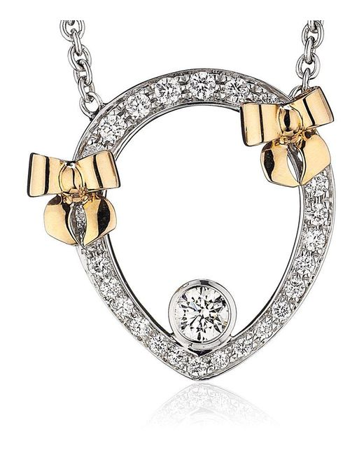 Theo Fennell | White Diamond And Rose Gold Bow Tryst Necklace | Lyst