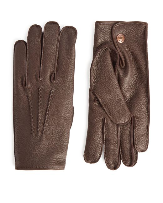 Dents Brown Cashmere-lined Leather Gloves for men