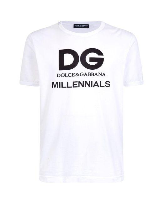Dolce & Gabbana - White Dg Millennials T-shirt for Men - Lyst