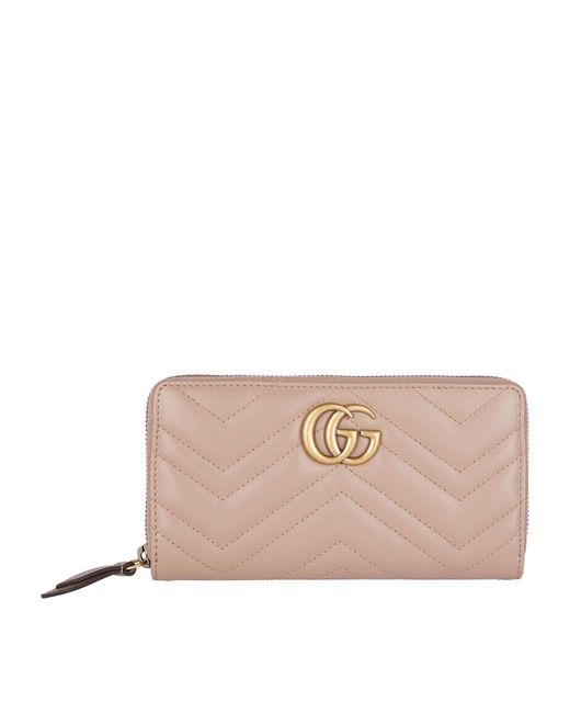 Gucci Pink Leather Marmont Zipped Wallet