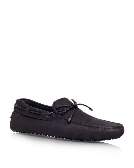 Tod's   Black Laced Gommino Nubuck Driving Shoe for Men   Lyst
