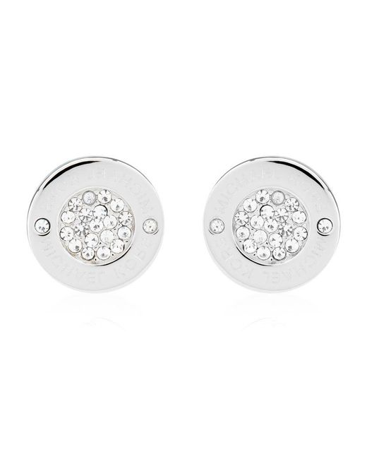 Michael Kors | Metallic Logo Pavé Stud Earrings | Lyst
