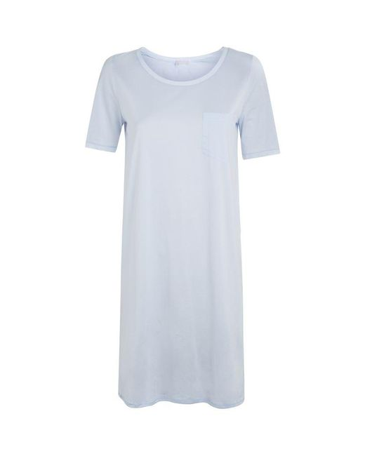 Hanro | Blue Cotton Deluxe Short Sleeve Nightdress | Lyst