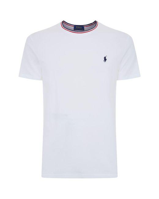 Polo Ralph Lauren   White Stripe Trim Pique Cotton T-shirt for Men   Lyst