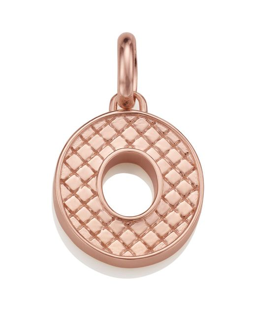 Monica Vinader - Pink Rose Gold Quilted Capital O Pendant - Lyst