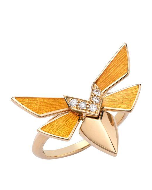 Stephen Webster Metallic Yellow Gold And Diamond Jitterbug Stacking Ring
