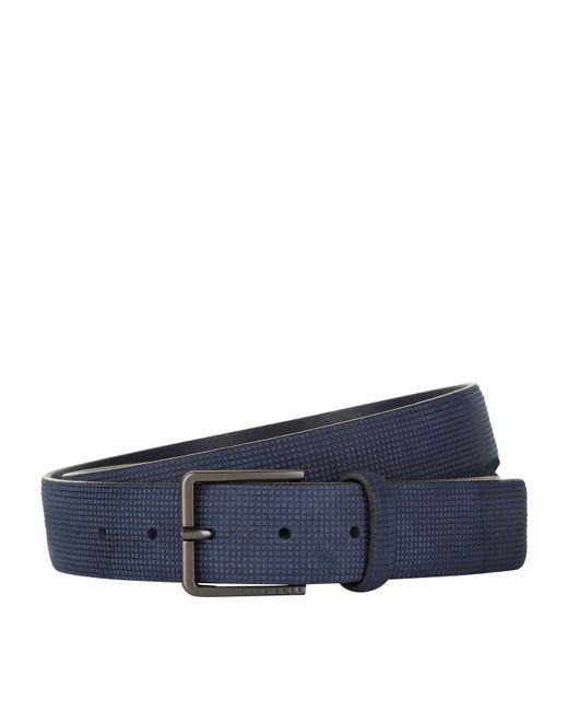 BOSS Green - Blue Leather Belt for Men - Lyst