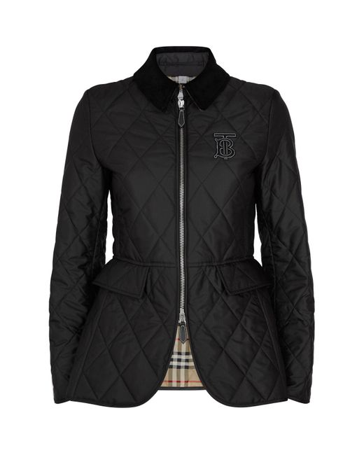 Burberry Black Tb Monogram Quilted Riding Jacket