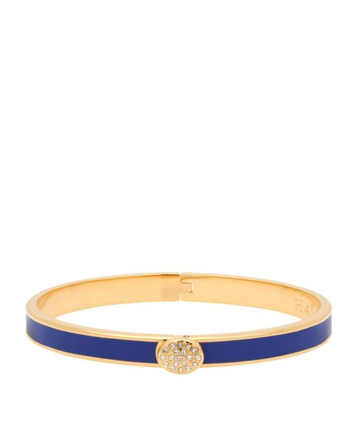 Halcyon Days Blue Gold-plated Crystal Button Bangle
