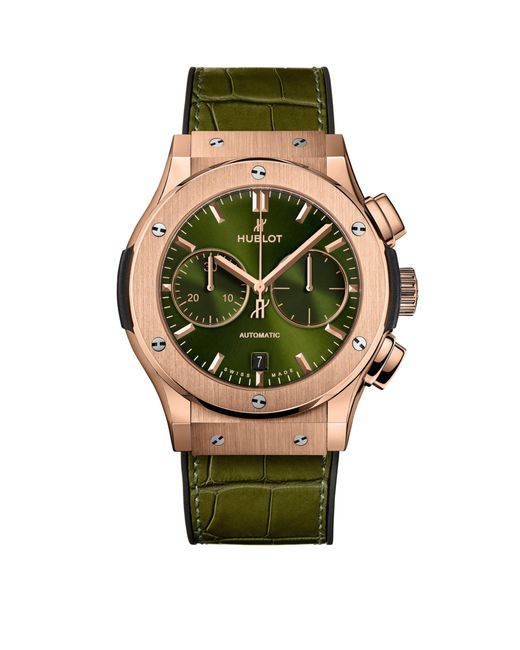Hublot Green Classic Fusion King Gold Chronograph Watch 45mm for men