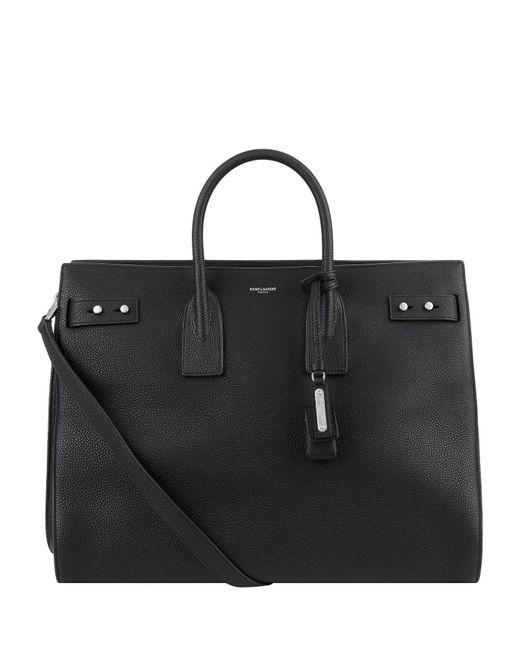 Saint Laurent - Black Grained Leather Sac De Jour Tote Bag for Men - Lyst