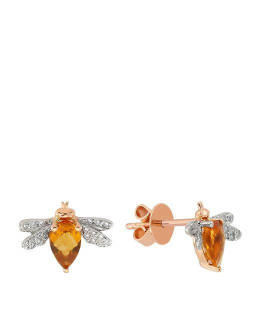 Bee Goddess - Yellow Queen Bee Diamond Earring - Lyst