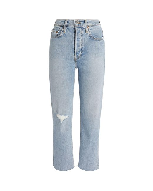 Re/done Blue High Rise Stove Pipe Jeans