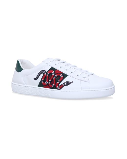 Gucci - White Snake Ace Embroidered Leather Sneaker for Men - Lyst
